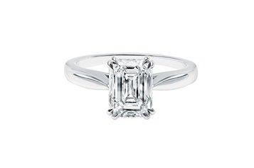 Solitaire diamant taille émeraude de Cameo